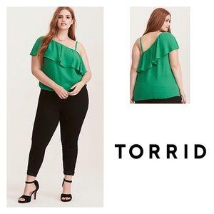 Torrid Polka Dot Georgette One Shoulder Top
